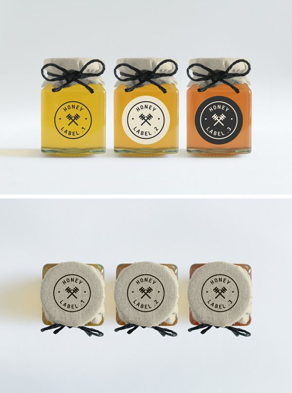 Treat yourself to this photorealistic mock-up of 3 honey jars with front and top view, and use it to showcase your label...