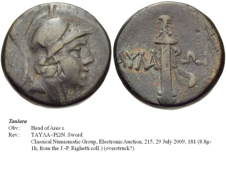 Greek overstrike. Pontus. Taulara. Head of Ares/Sword on undetermined type. Time of Mithradates Eupator.