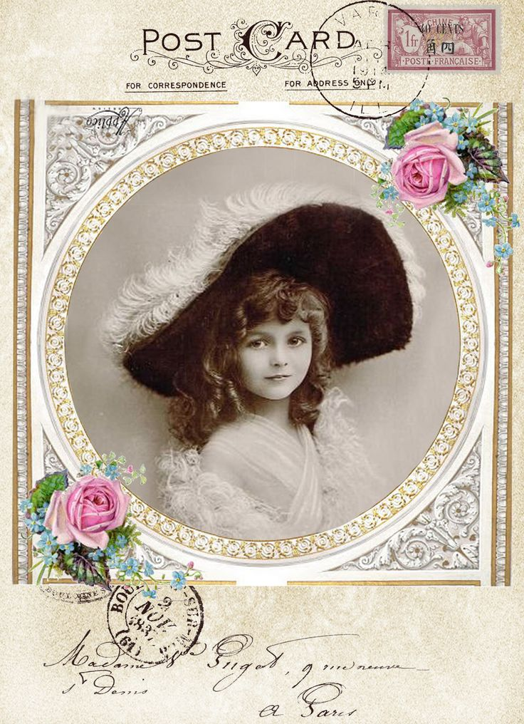 Vintage girl postcard digital collage p1022  Free for personal  use