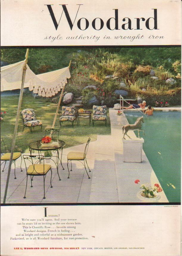 1954 Lee L. Woodard Sons Wrought Iron Patio Furniture Owosso Michigan MI  50s Ad