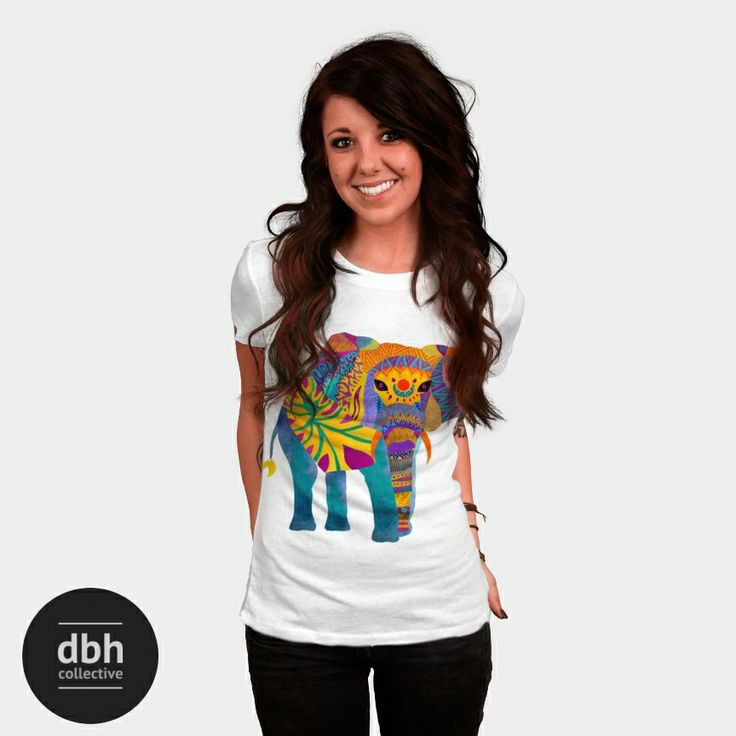 Whimsical Elephant is a Women's T Shirt designed by pomgraphicdesign to illustrate your life and is available at Design By Humans #tshirt #apparel #clothing #designertee #wearableart #creative #elephant #tribal #ethnic #slimfit