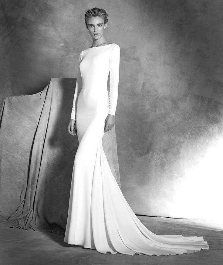 Ivania, robe de mariée à manches longues, décolleté bateau, style élégant