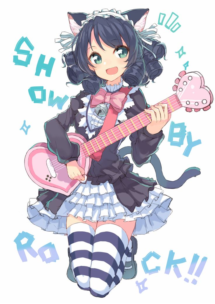 Cyan and her strawberry heart guitar