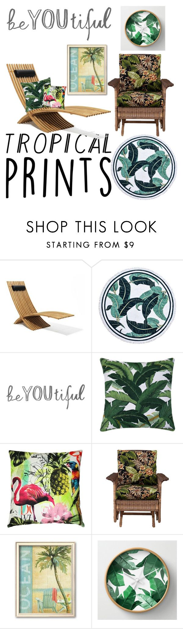 """""""Tropical Print"""" by calbug2003 ❤ liked on Polyvore featuring interior, interiors, interior design, home, home decor, interior decorating, Pillow Decor, Improvements and tropicalprints"""