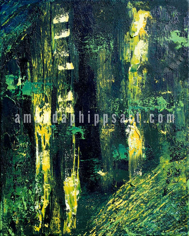 "SOLD ""Forest Night"" Abstract oil painting on canvas  16x20x1""  Pairs as a diptych with ""Forest Day"" amandaphippsart.com"