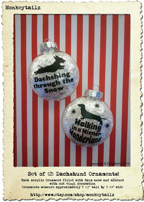 Set of 2 Dachshund Christmas Ornaments - GREAT gift for the Doxie Lover ! on Etsy, $18.99
