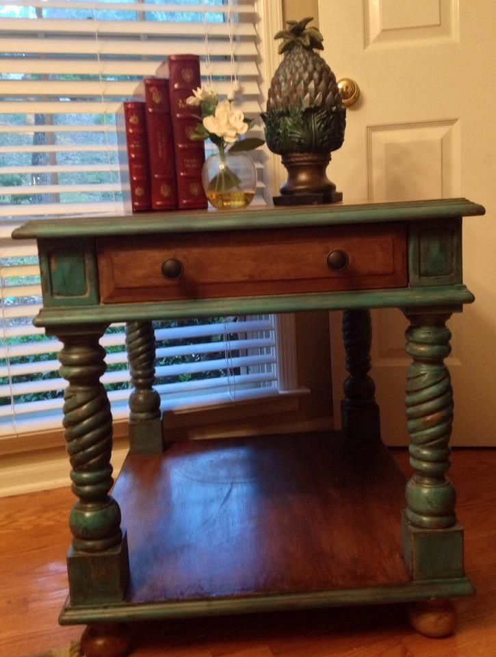 end table two tone chalk paint and wood