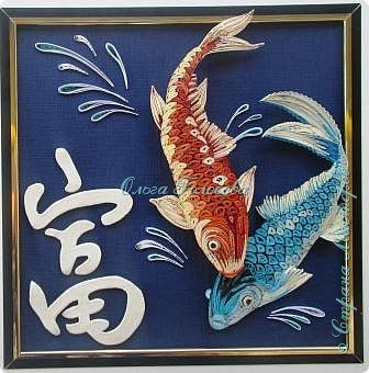Картина панно рисунок Бумагопластика Квиллинг Иероглифы фен-шуй Бумага Бумажные полосы фото 1