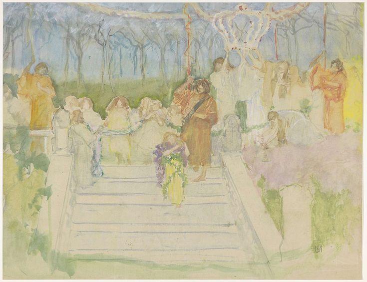 Pieter de Josselin de Jong | Tableau vivant ter gelegenheid van het huwelijk van koningin Wilhelmina in 1901, Pieter de Josselin de Jong, 1871 - 1906 | Figuren in groepen bovenaan een trap.