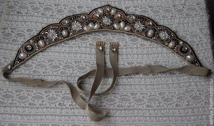 Купить Диадема - чёрно-белый, свадебные аксессуары, свадебная диадема, корона для фотосессии, корона для невесты