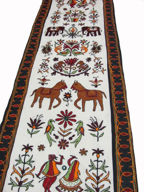 58x20 White Table Runner Cotton Tapestry Ethnic Pictorial Pattern  Embroidered Hanging   TP19