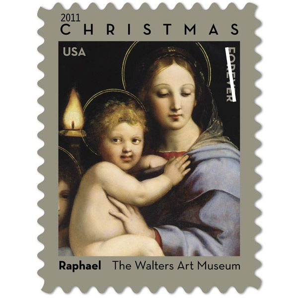 The traditional Christmas stamp being offered by the USPS in 2011 is by one of the great masters of the Italian Renaissance, Raphael.  The stamp features a detail from Raphael's painting, Madonna of the Candelabra, showcasing the Madonna and Child. Just look how amazing [and beautiful!] this is … perfect for your Christmas cards.  The best part is that it's a Forever stamp so if you have some left over, you can still use them if postage prices increase.