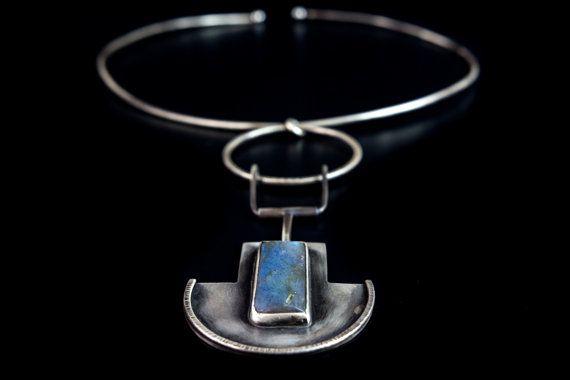 sterling silver necklace boho necklace statement by Kirkihandmade