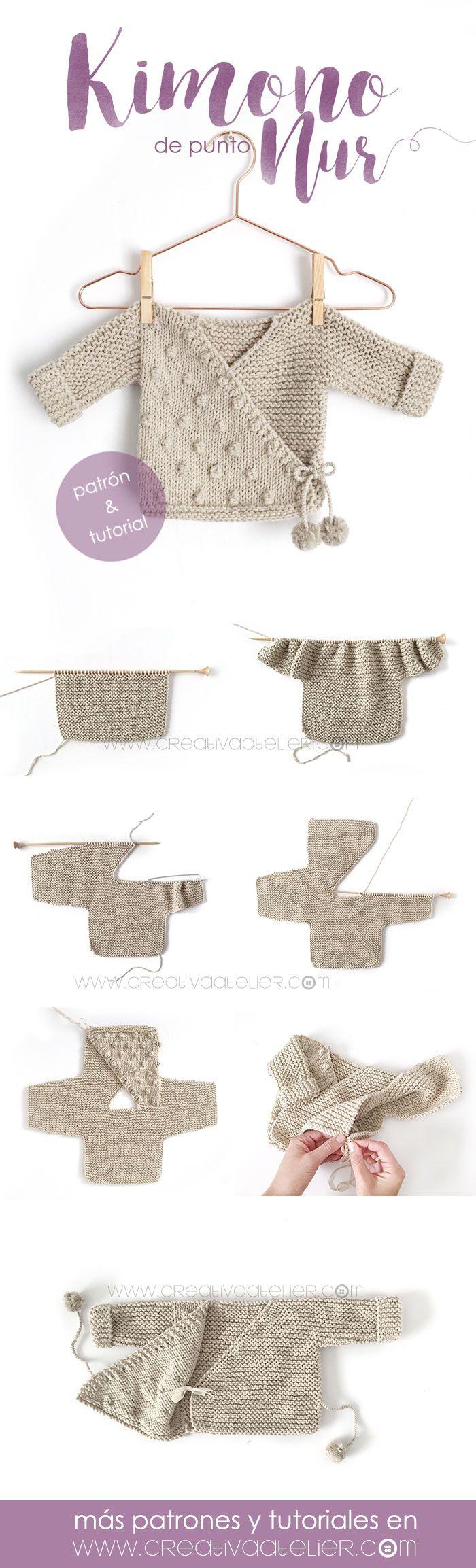 Kimono de Punto para Bebé [ Tutorial y Patrón GRATIS ] | Tejido ...