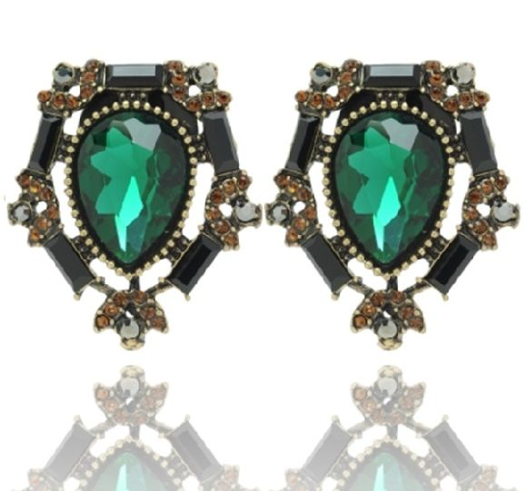 Timeless Petite Green Clip On Earrings available at www.stellanemiro.com