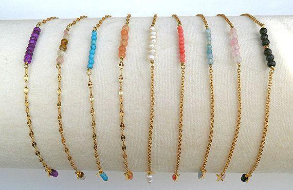 Dainty gold bracelet gemstone bar Gemstonebar bracelet.