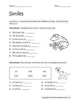 Similes Worksheets | Simile, Similes, metaphors ...