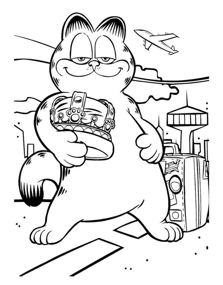 garfield is very mighty coloring page