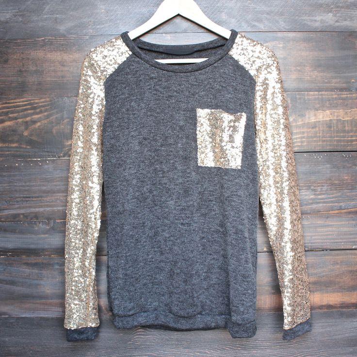 gold sequin long sleeve and pocket lightweight sweatshirt