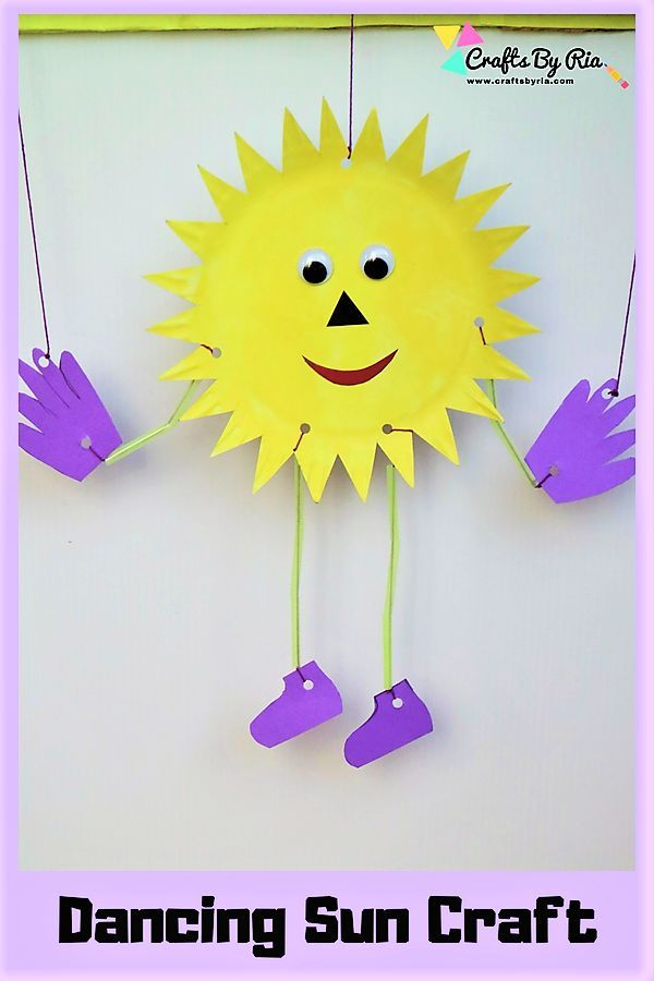 Fun Summer Craft For Kids Paper Plate Sun Marionette For Kids