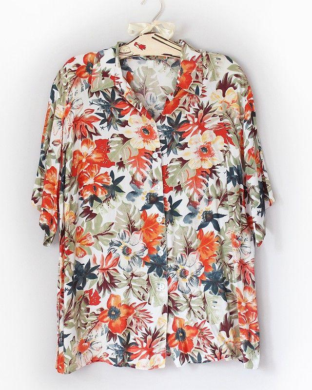 Koszula Art Vintage Z Lat 80 90 Tych Cudna Kolorystyka 48 50 52 4xl Moda Boho Fashion Vintage