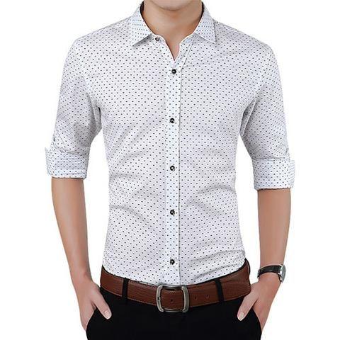 2016 New Autumn Fashion Brand Men Clothes Slim Fit Men Long Sleeve Shirt Men Polka Dot Casual Men Shirt Social Plus Size 5XL - Xamns
