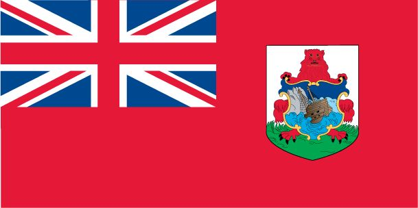 Geography of Bermuda: The Bermuda flag is red, with the flag of the UK in the upper hoist-side and the Bermudian coat of arms (white and green shield with a red lion holding a shield showing the sinking of the ship Sea Venture in 1609) on the outer half of the flag.