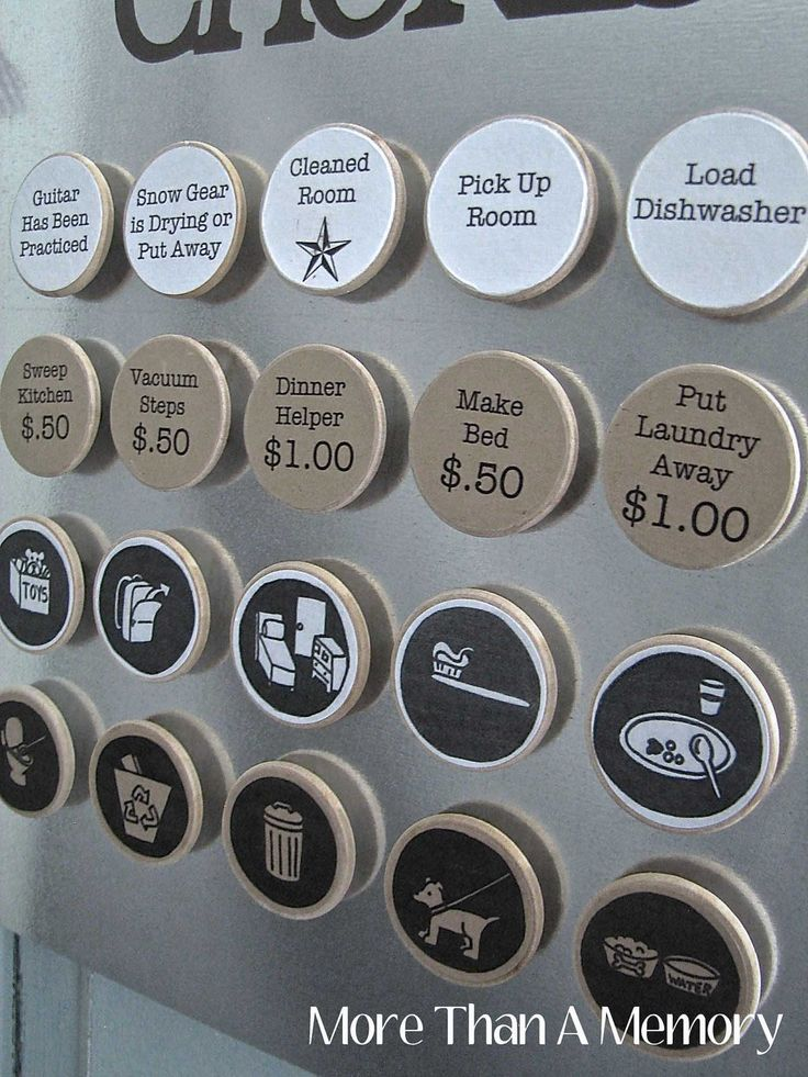 This is brilliant and so cute!!!  Set of (15) Chore Magnets: Custom Chore Chart System. $18.75, via Etsy.
