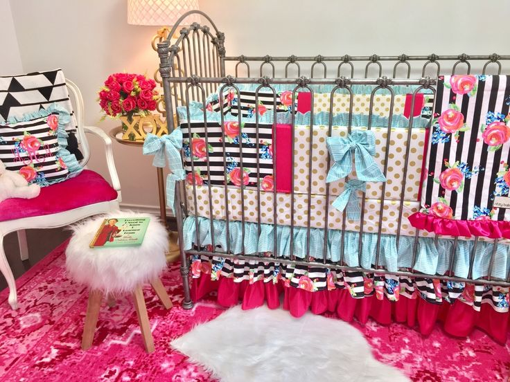 Ritzy Baby Designs, LLC - Aqua, Watercolor Floral Stripe, and Hot Pink Ruffled Crib Skirt, $165.00 (http://www.ritzybaby.com/aqua-watercolor-floral-stripe-and-hot-pink-ruffled-crib-skirt/)