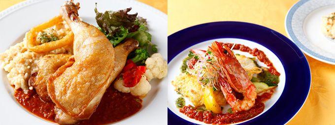 クロアチアレストラン「ドブロ Dobro」:「カリカリ若鶏のコンフィと季節野菜のクリームリゾット」(左)「本日の魚料理とリゾット」(右)