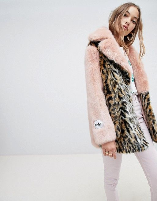 6543ca2bb6d Jakke mid length faux fur coat in contrast leopard in 2018 ...