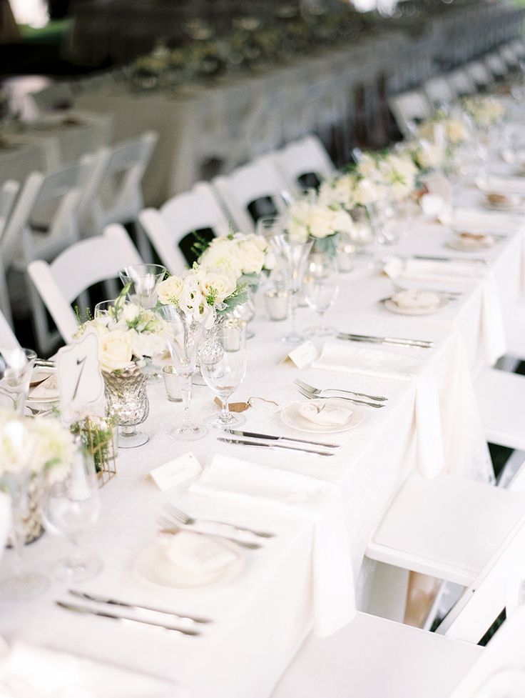 long table setup wedding reception%0A Classic Bradley Estate Wedding  White Table SettingsPlace