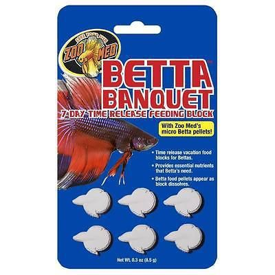 Zoo Med's Betta Banquet Blocks is a 7 day time release feeding block made with whole Micro Betta Food Pellets and Krill to provide your Betta fish with proper nutrients. Your Betta will be exposed to