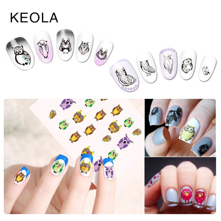 KEOLA Owl Cartoon Design Nail Stickers Water Transfer Decal  Nail Tip Wraps for Nail Art Decoration Decal Tools