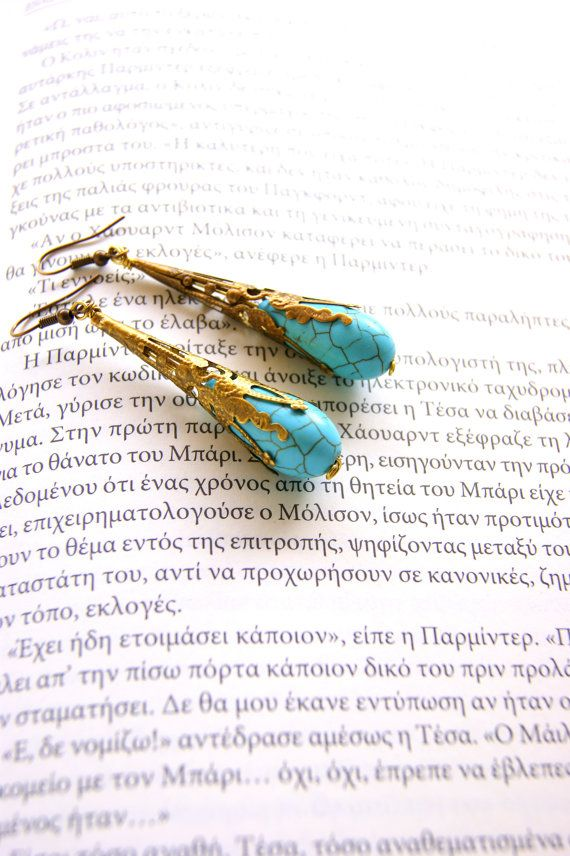 Antique turquoise  earrings by RenatasArt on Etsy, €15.00