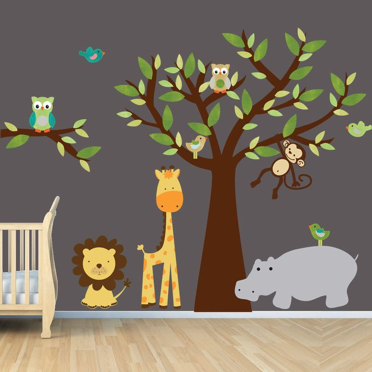 Tree Wall Decals, Monkey Wall Decal, Owl Wall Stickers, Giraffe Wall Decals, Jungle, Safari, Evergreen Design, brown trunk and Hippo. $95.99, via Etsy.