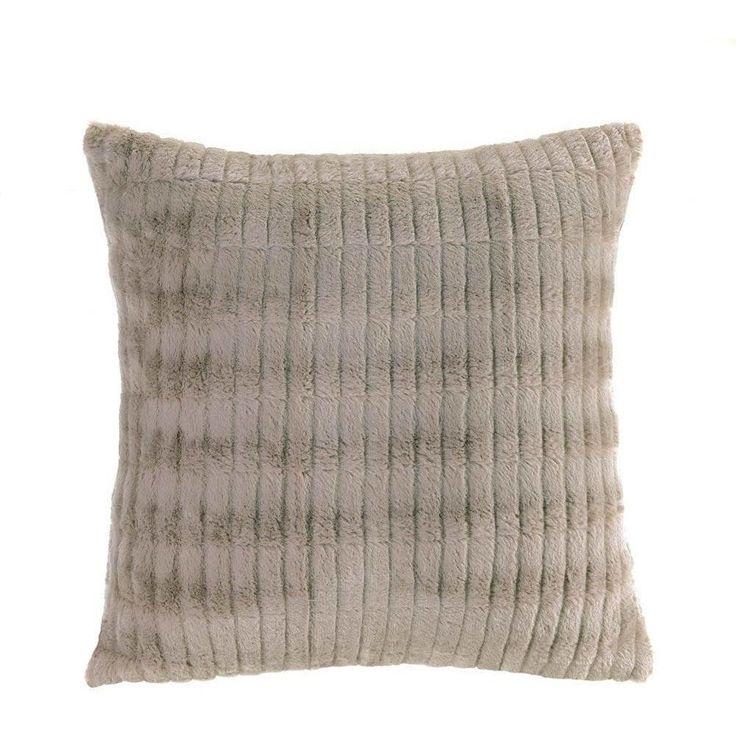 Taupe Faux Fur Modern Throw Pillow