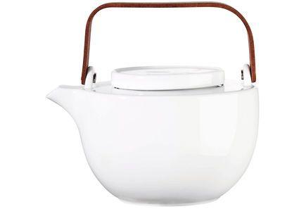 Tyylikäs, aasialaishenkinen kiiltävänvalkoinen puukahvainen teepannu, jossa on teräksinen teesihti. Voit hauduttaa teen helposti pannussa.