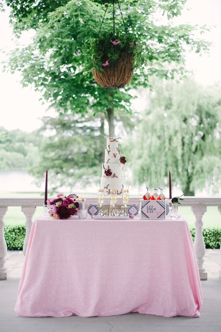 Cake & Desserts by: Cakelaine Photography: Strokes Photo Cake stand and Glasses: Southern Charm Rentals Linen: Linen Closet Florals/Styling: Amna @ Lemon Truffle Designs Stationery: Nadiya V Design