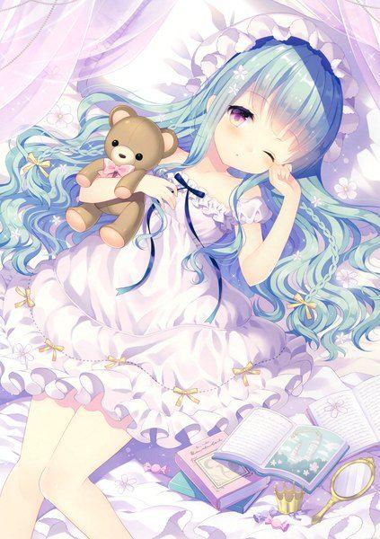 Аниме картинка 2511x3558 с  оригинальное изображение wasabi (sekai) длинные волосы один (одна) высокое изображение румянец высокое разрешение смотрит на зрителя фиолетовые глаза синие волосы один глаз закрыт лоли скан девушка платье книга (книги) чепчик игрушка мягкая игрушка животного плюшевый мишка