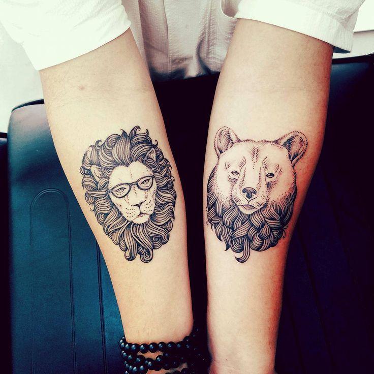 Lion and Bear tattoo by Sarah Gaugler at Snow Tattoo Manhattan NY