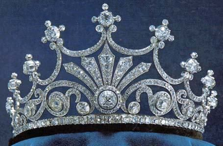 Queen Sophie's Nine Prong Tiara - It was mde in Berlin as a gift for Queen Sophia, consort of King Oscar II (1872-1907). It has been handed down to King Karl XVI Gustaf inherited it from his mother (Sibylla) in 1972 and gave it to his wife Silvia following their marriage. It is part of the Bernadotte Foundation.