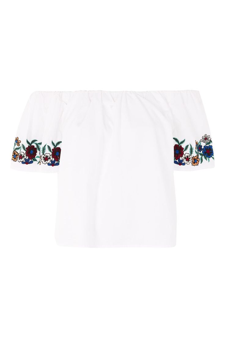 Embroidered Floral Bardot Top - Tops - Clothing - Topshop