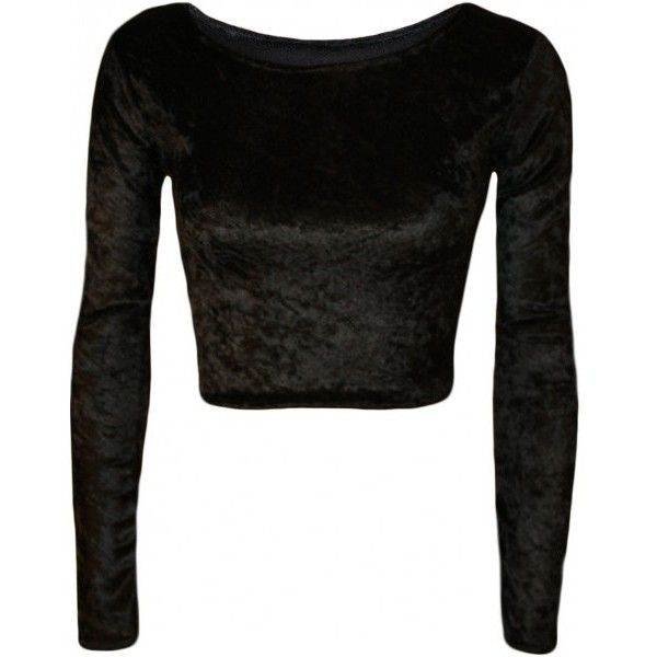 Tabitha Velour Velvet Long Sleeve Crop Top ($12) ❤ liked on Polyvore featuring…