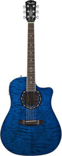 Fender T-Bucket 300CE Quilted Maple Top Cutaway Acoustic-Electric Guitar Bundle with Fender Acoustic Guitar Maintenance Pack - Transparent Blue