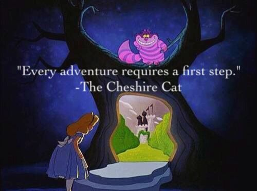 Every adventure requires a first step. ~The Cheshire Cat