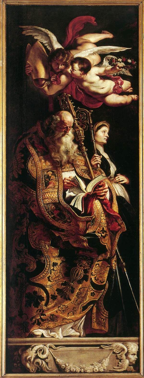 Peter Paul Rubens: Raising of the Cross [detail: Sts Amand and Walpurgis]