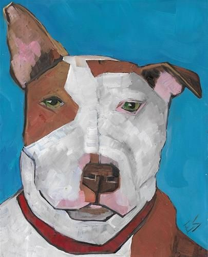 "Daily Paintworks - ""Pitbull"" - Original Fine Art for Sale - © Elizabeth See"