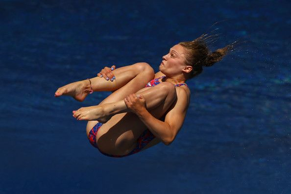 Alicia Blagg of Great Britain competes in the Women's 3m Springboard Diving Semifinal round on day seven of the 15th FINA World Championships at Piscina Municipal de Montjuic on July 26, 2013 in Barcelona, Spain.