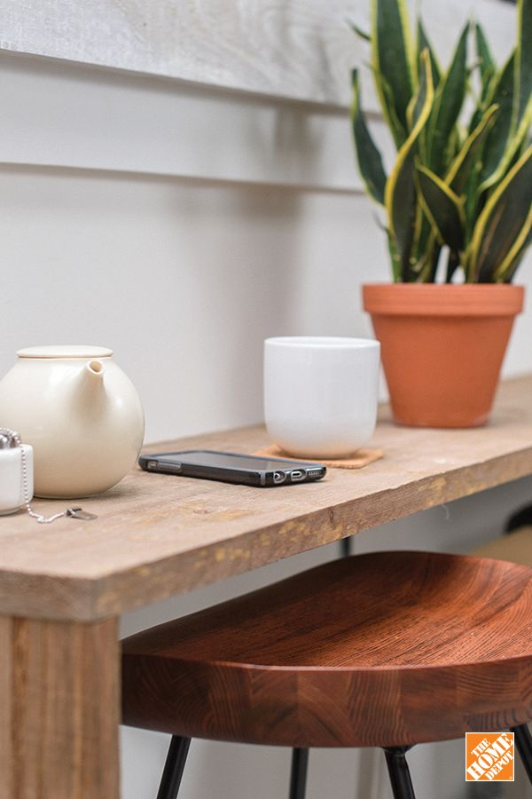 For your next #DIY project, try creating a narrow desk using barn board. It's agreat way to add charm to a smallspace. Learn more at homedepot.ca.